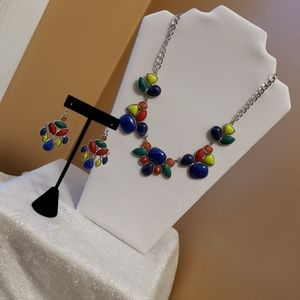 Fashion jewelry multicolored necklace & earrings